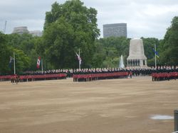 The Guards start their march past.