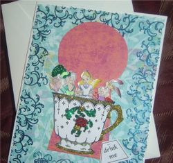 Alice in Wonderland Glittery Tea Party Card-