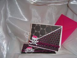 Set of two Skull with Bows Greeting Cards