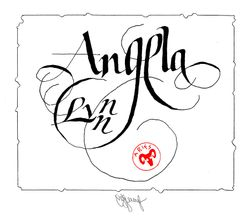Calligraphy of name Angela Lynn
