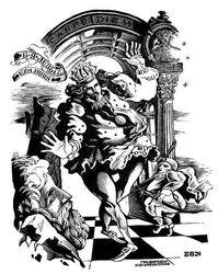 """Ex libris B.lJ.Lewych """"Chess King"""""""