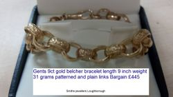 Gents 9ct gold belcher bracelet