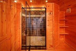 Upper master bath, slate shower