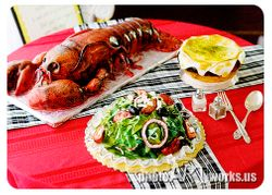 Lobster,salad,soup cake