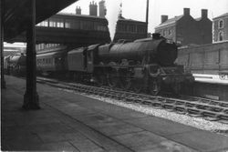 45687 arrives at Walsall on Pines Express 1958