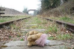 A headless lion on the tracks at Hammerwich