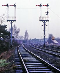 Lichfield City signal box (left to right) 5, 6, 10 and 12 signals protect the junction between the Walsall and Sutton lines on the approach to Lichfield City station. Friday 21st December 1990