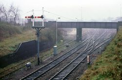 Signals on the eastern approaches to Lichfield City station. Friday 21st December 1990