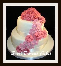 bruidstaart 22 pers.rozen