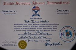 James Moclair Soke & 10th Dan Certificates