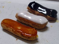 Caramel, White and Chocolate Eclaires