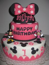 Alliyah's Minnie & Mickey Mouse 1st Birthday Cake