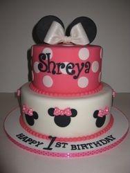Shreya's Minnie Mouse 1st Birthday Cake