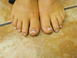 pink and white acrylic toes by Lori