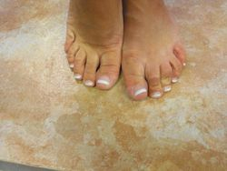 After pink and white acrylics toes