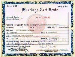 Elvis' Marriage Certificate