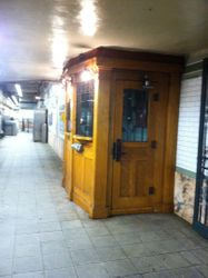 Old wooden token booth