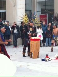 There was an native American dance outside the Queens Museum