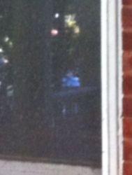 little girl in blue dress in window