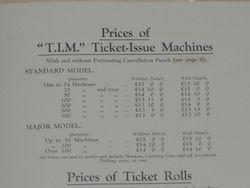 1936 T.I.M TICKET MACHINE PRICE LIST