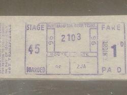 NORTHAMPTON standard ticket.
