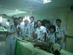 The cadaver is planking