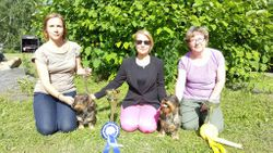 3 happy leidies with beautiful dogs Orivesi 2016