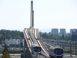 Trains on the North Arm Bridge