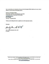 Page 1 of 2 Letter of Deliberation from Carolyn Bennett