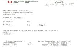 1843 Bytown Gazette LAC Request Form