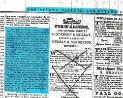 1843 Bytown Gazette Article