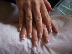 silver strip glitter acrylic nails