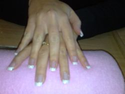 white tip with fine glitter acrylic