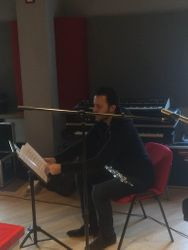 Fabien getting ready to record. A great session stay tuned for release.