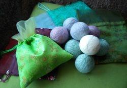 Wool dryer balls in silk pouch $20