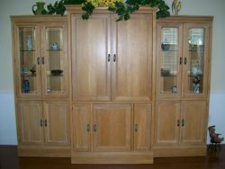 ALL WOOD THREE PIECE DISPLAY CABINET (3 SEPARATE UNIT PIECES TO BE PLACED WHERE NEEDED!)