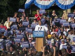 Senator Obama speaks to the crowd