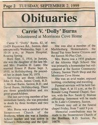 Burns, Carrie V. Lantz 1999