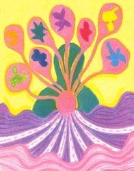 Love Reflected in Love, Oil Pastel, 11x14, Original Sold