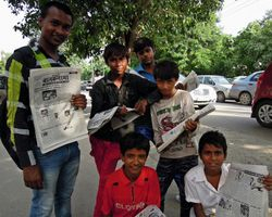 A distribution team on the streets of New Delhi