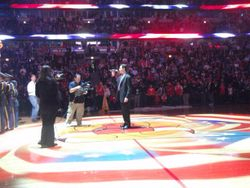 Singing the National Anthem - Bulls game