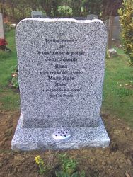Celtic grey granite pitched headstone
