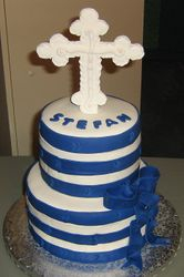 Navy and White Christening Cake