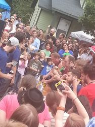 Pickle eating contest at the Cooke Street Carnival