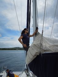 stowing the main, St Lucia 2012