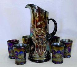 Oriental Poppy 7 pc. water set - purple