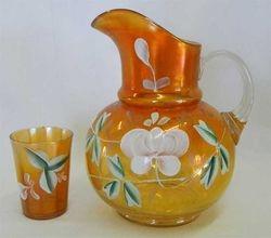 (Enameled) Lotus water pitcher and tumbler, marigold