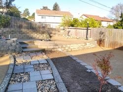 Walkway and flower beds