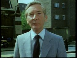 Kenneth outside Holy Cross Church, Cromer Street, 1983