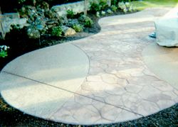Random Stone Stamp finish shown with exposed aggregate